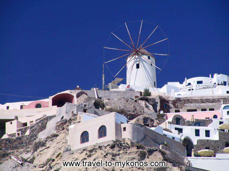 A part of the traditional settlement of Mykonos. At the higher side dominate the picturesque windmill.
